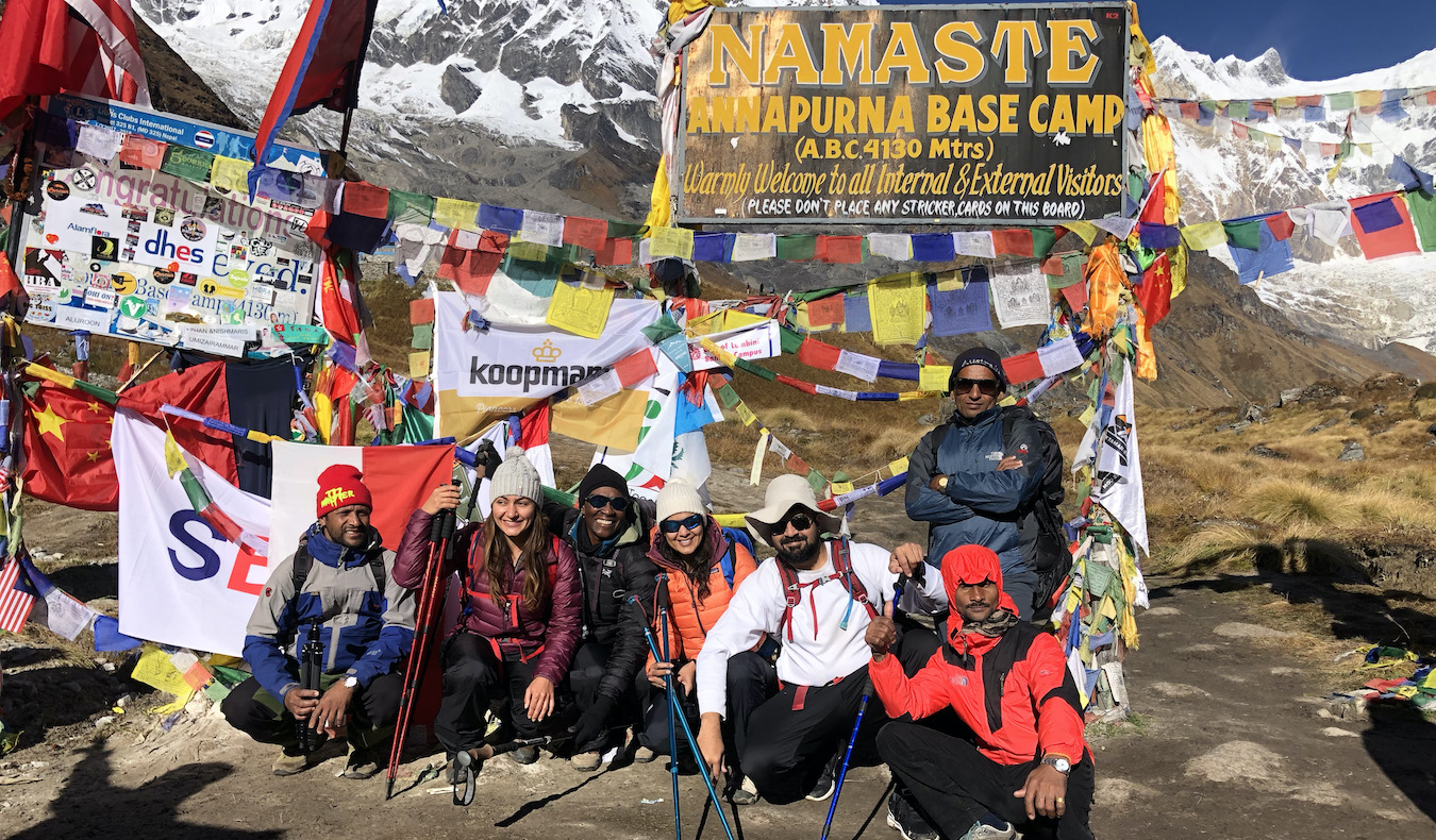 a group of hikers at Annapurna basecamp in Nepal