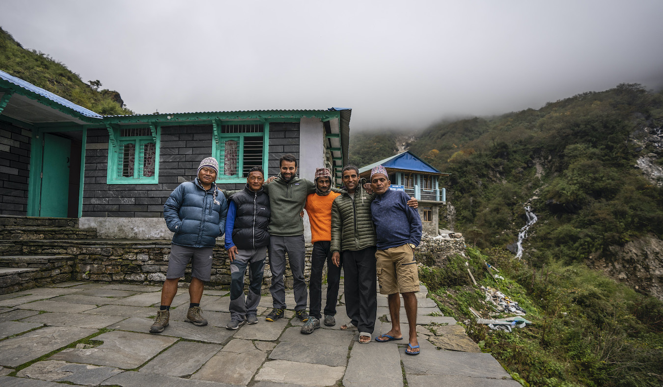 a group of hikers on the way to Annapurna basecamp in Nepal