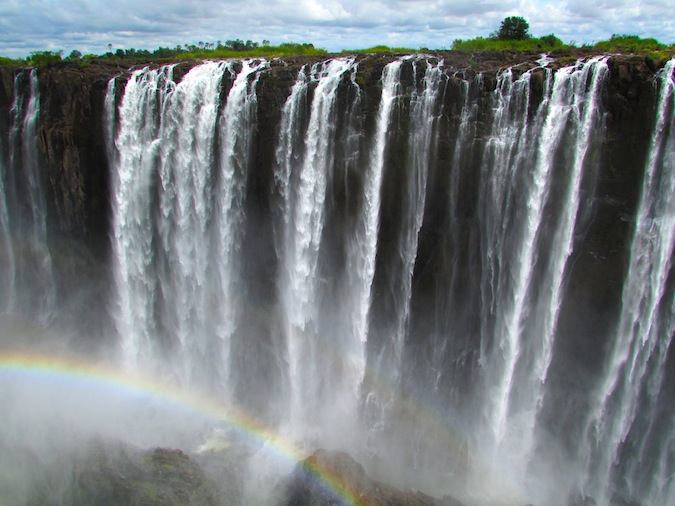 A stunning double rainbow over Victoria Falls from Zimbabwe