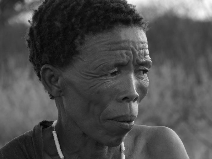 Photo of a wise bushwoman from Namibia, Southern Africa