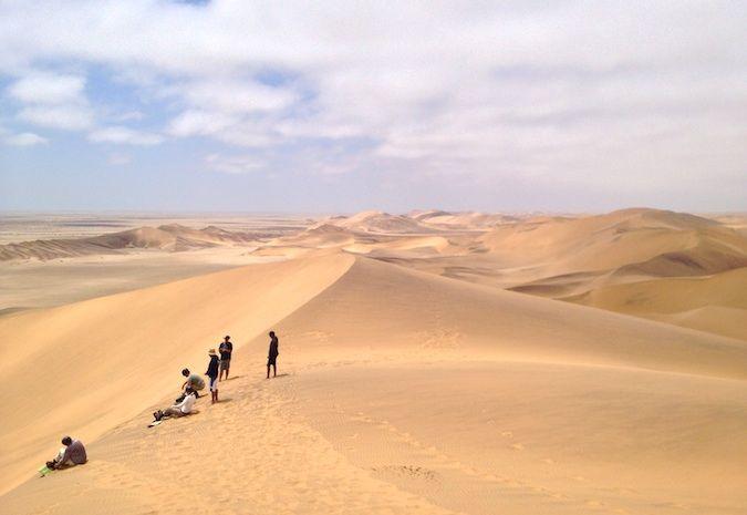 Sandboarding outside Swakopmund, Namibia