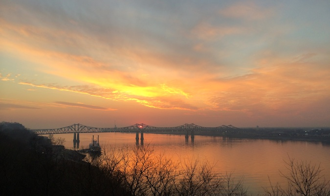 sunset of the Mississippi river in Natchez, MS