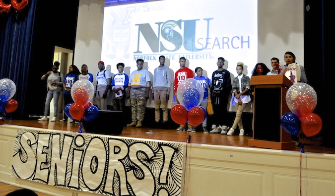 Students from Anacostia High School in Washington D.C. at an assembly where the FLYTE Cuba trip was announced