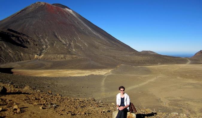 Angela posing near a mountain