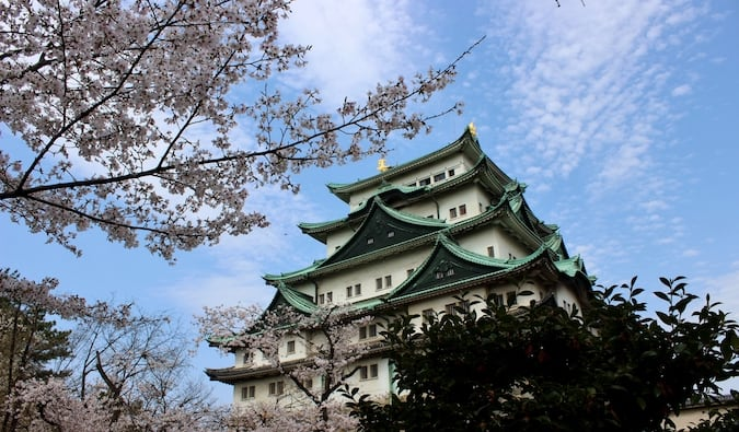 A traditional Japanese castle surrounded by trees and bright blue skies