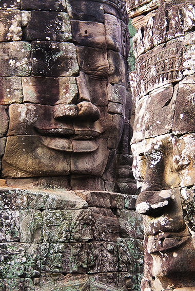close up of the carvings in the Bayon temple
