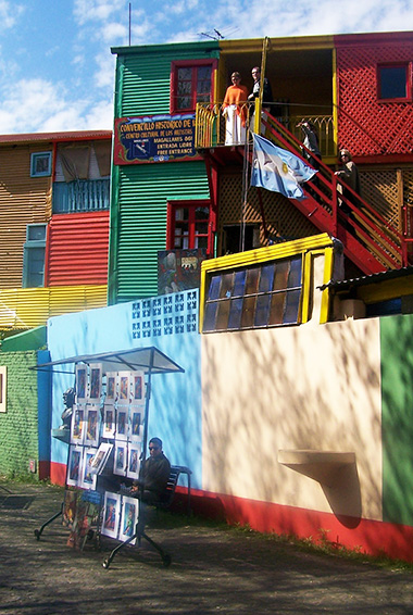 colorful buildings in La Boca neighborhood of Buenos Aires