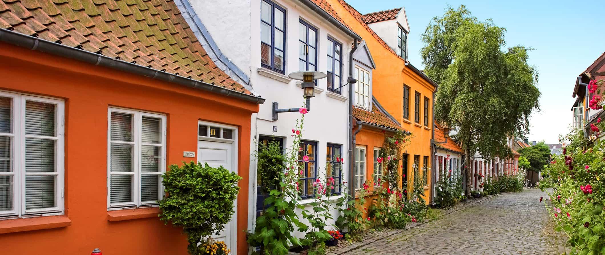 colorful homes in arhus, denmark