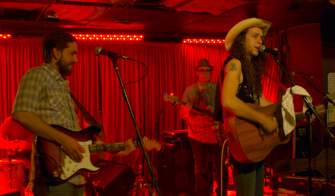 Musicians performing live at The White Horse in Austin, Texass
