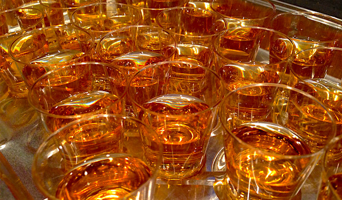 Tons of whiskey shots all lined up on a tray together in Austin, TX