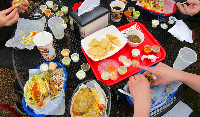 Enjoying delicious tacos from Torchy's in Austin, Texas