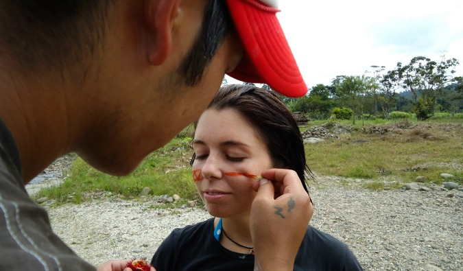 Ayngelina with face paint in Ecuador