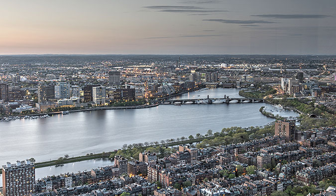 Overlooking the Back Bay area of Boston, USA