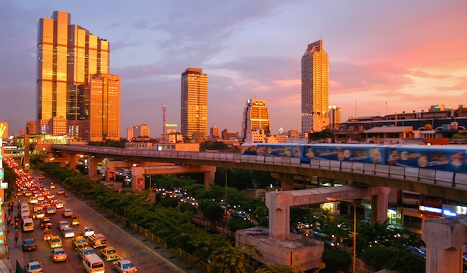 Bangkok skyline near sunset