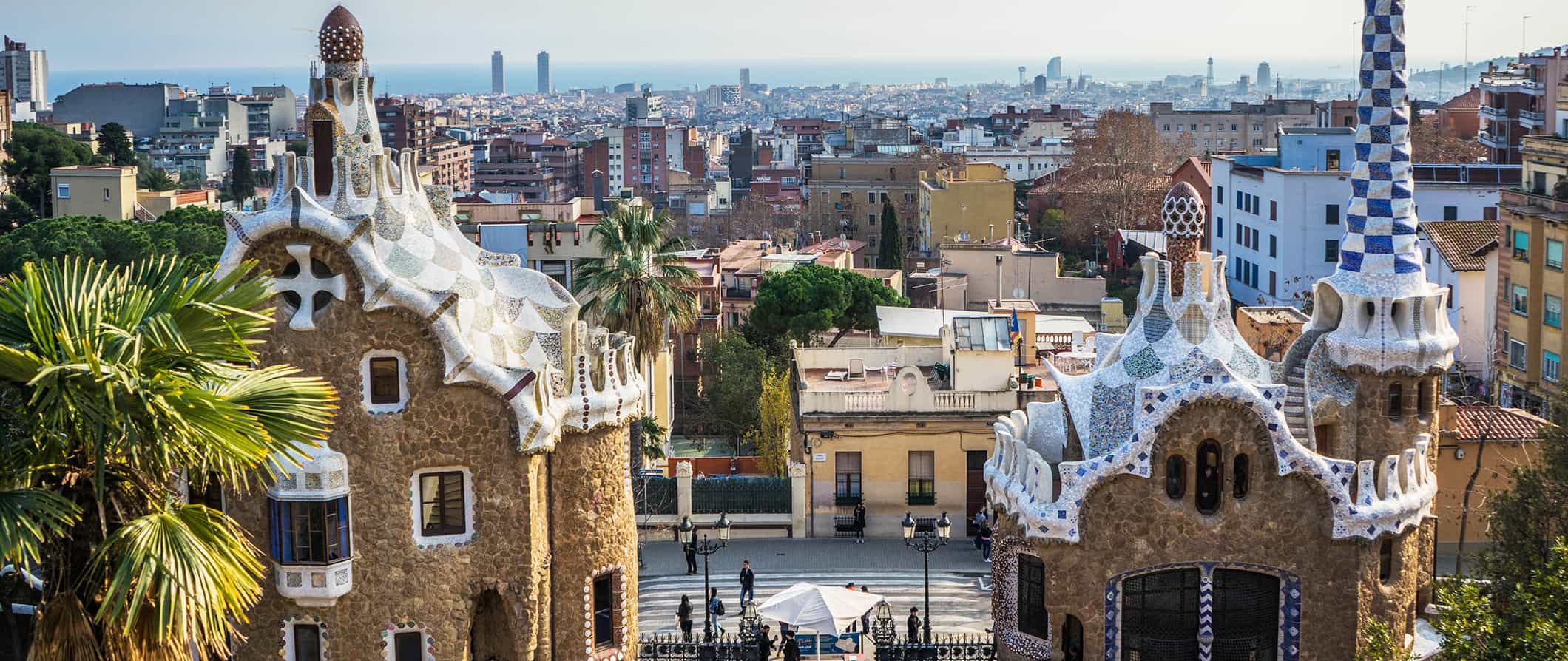 Gaudi architecture with Barcelona's skyline in the background