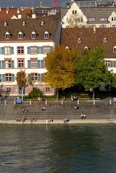 Relaxing on the Rhine River in Basel, Switzerland