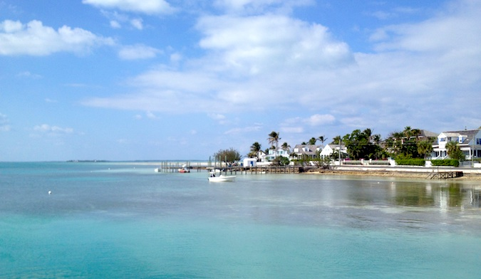 The famous Eluthera Harbor in the Bahamas