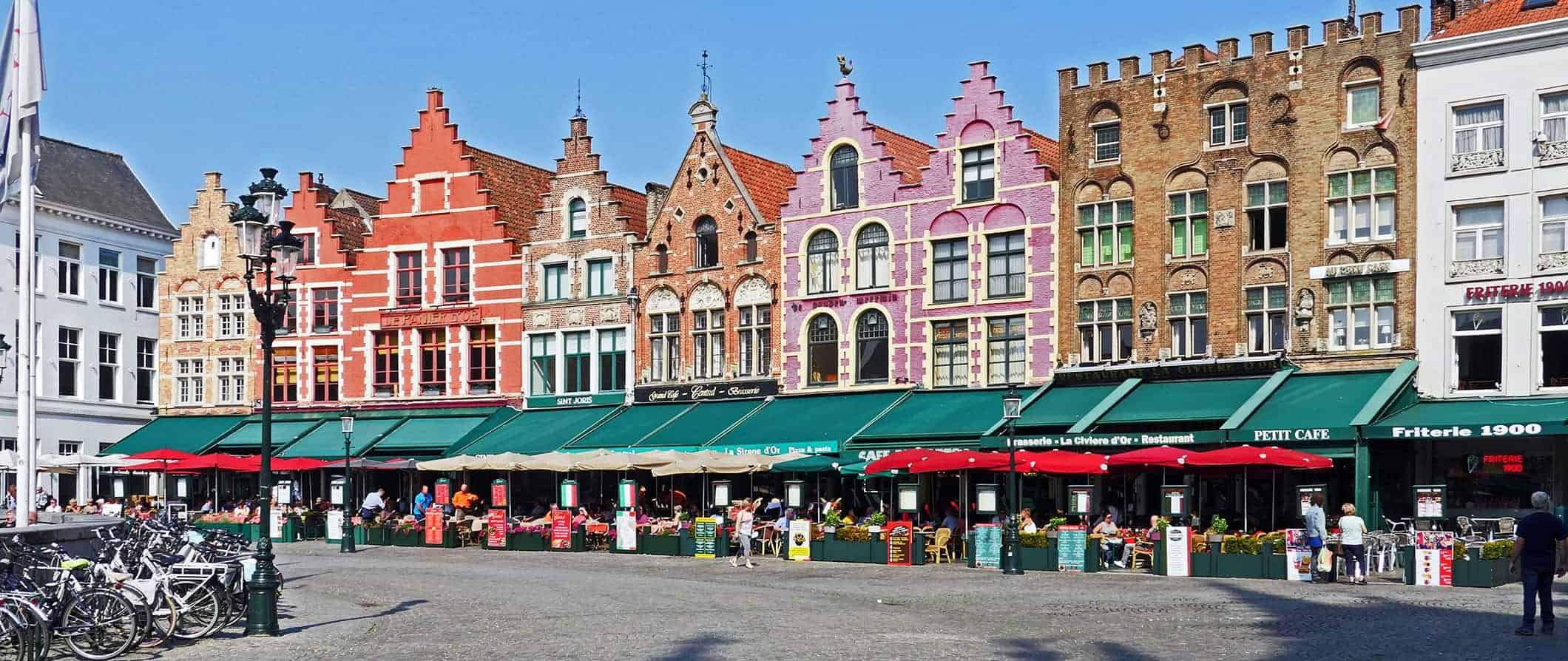 a colorful street in Bruges, Belgium