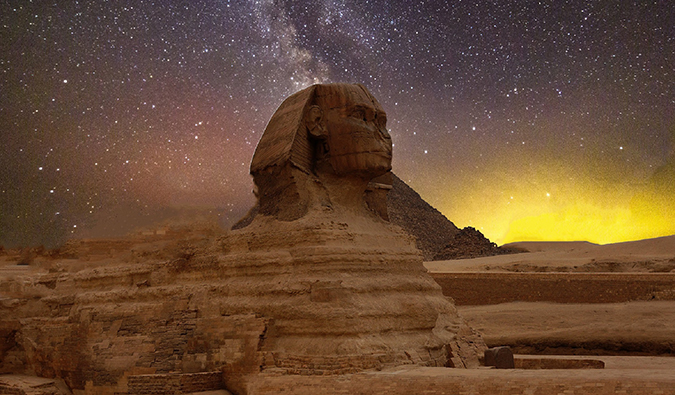the sphinx with a night sky
