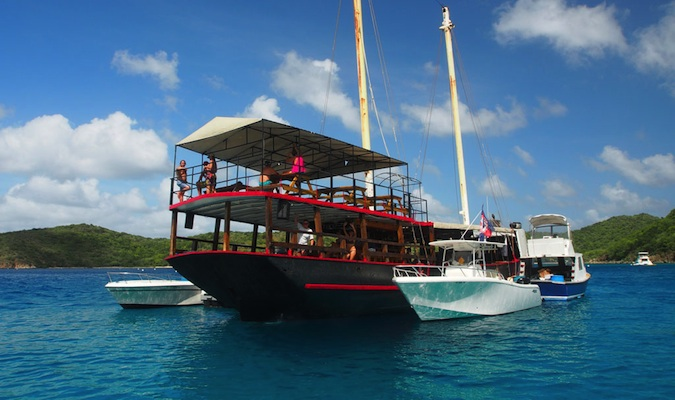 floating bar called willy t's in the virgin islands