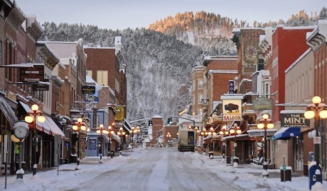 the snowy main street in deadwood