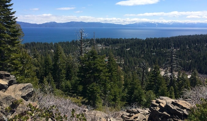 A sweeping view of the forests around Lake Tahoe in California