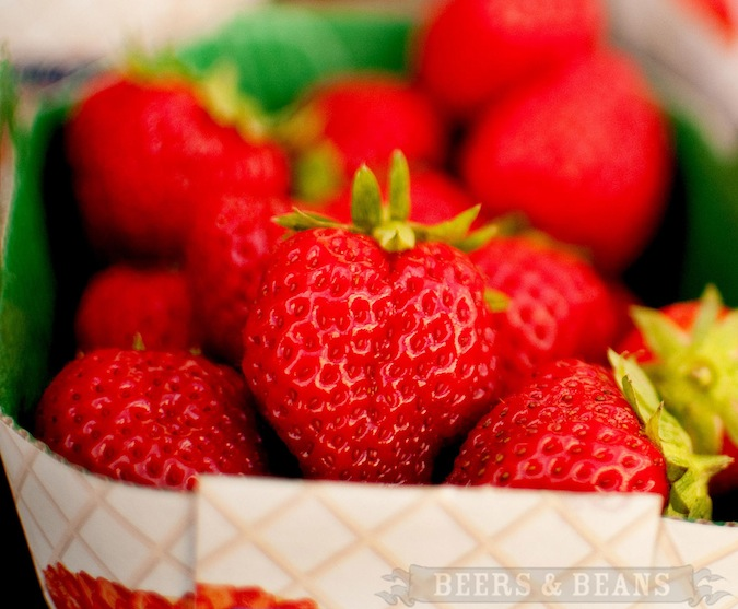 Box of red strawberries