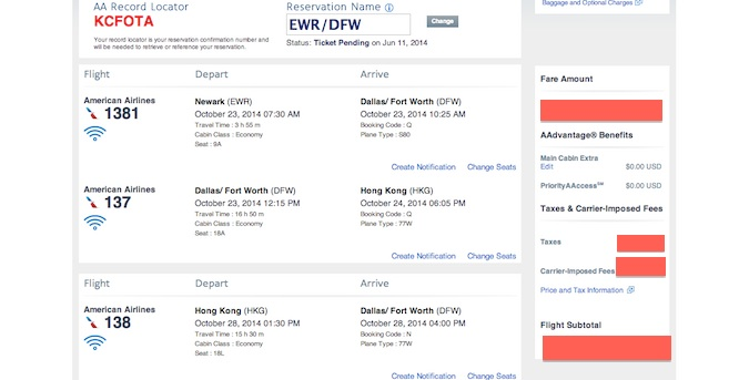 screenshot of tickets to hong kong
