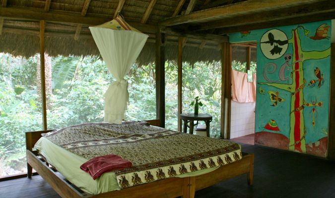 A fancy jungle lodge surrounded by lush jungle Bolivia rainforest