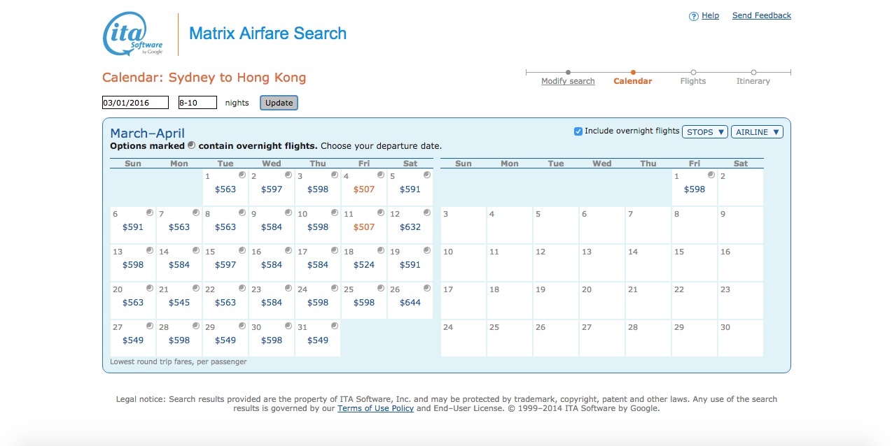 booking flights screen for Sydney to Hong Kong