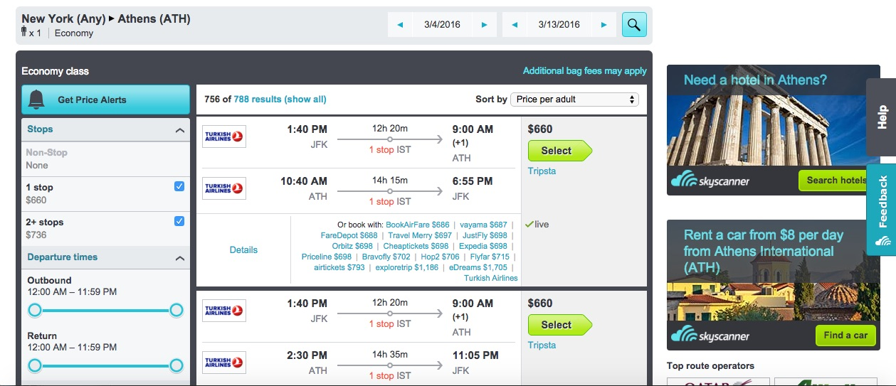 Skyscanner search screenshot from NYC to Athens