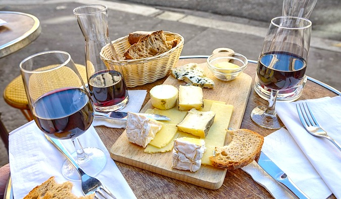 Wine and cheese in France