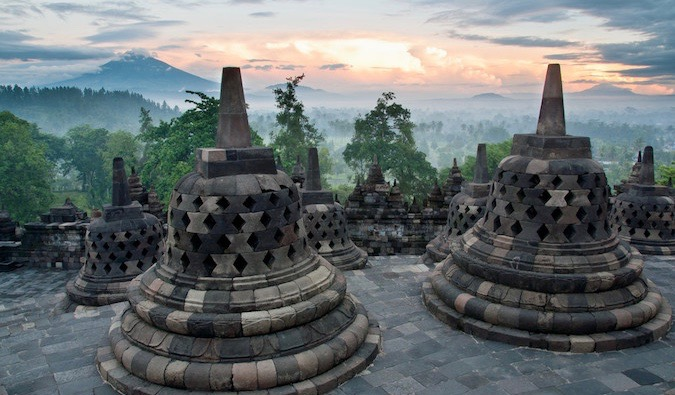 A weathered statue at Borobudur in Indonesia