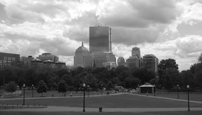 black and white picture of boston from boston common