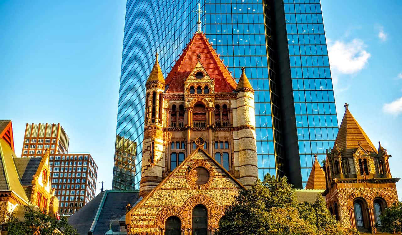 Trinity Church on a summer's day in Boston, USA