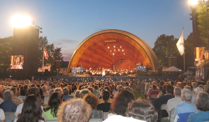Hatch Shell dome-shaped outdoor concert hall in Boston, Massachusetts