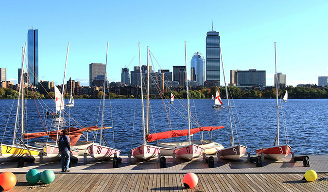 You can spend the day sailing and swimming in Boston's Charles River