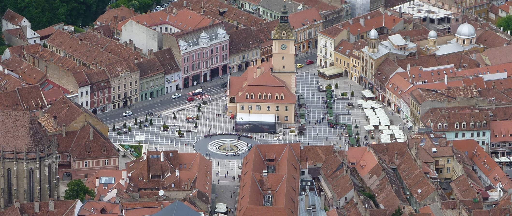 aerial view of the town square in Brasov