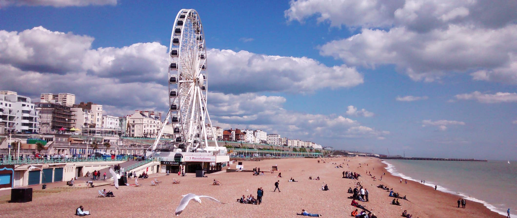 a view of Brighton Beach and the wheel