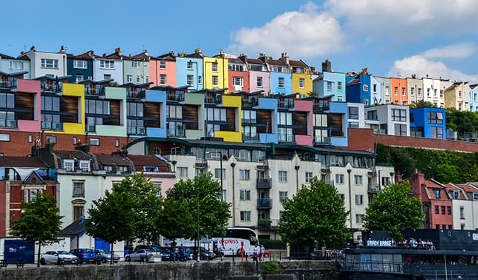 colorful buildings along Bristol's waterfront