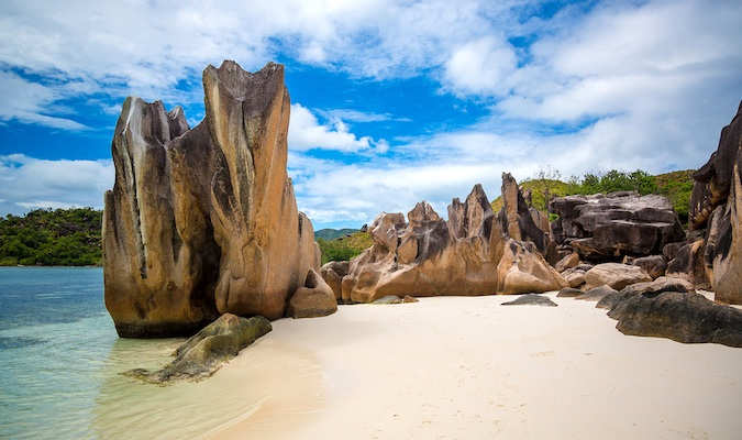 A beautiful beach on the paradise of Seychelles on a bright and sunny day