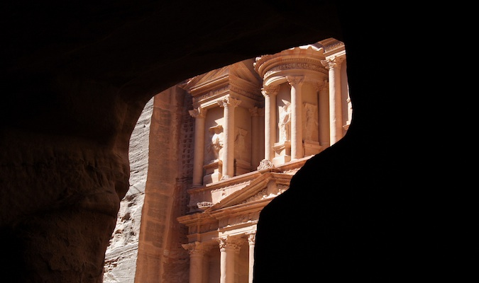The historic treasury at the Wonder of the World Petra in Jordan