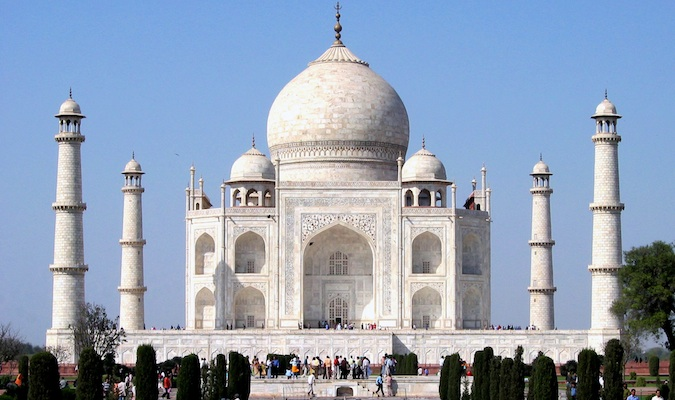 The world-famous Taj Mahal in India bursting with visitors