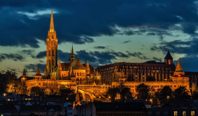 The beautiful architecture of Budapest at night