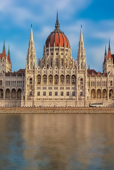 the Hungarian Parliament building in Budapest seen from across the Danube