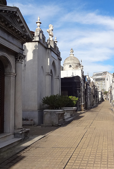 looking between the mausoleums in Recoleta Cemetery, Buenos Aires
