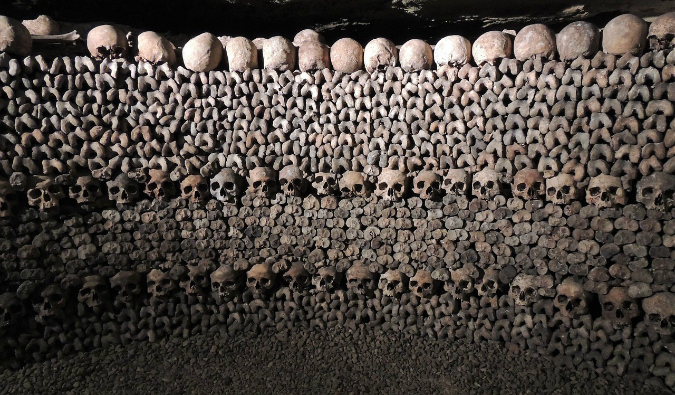 Bones piled high in the Paris catacombs