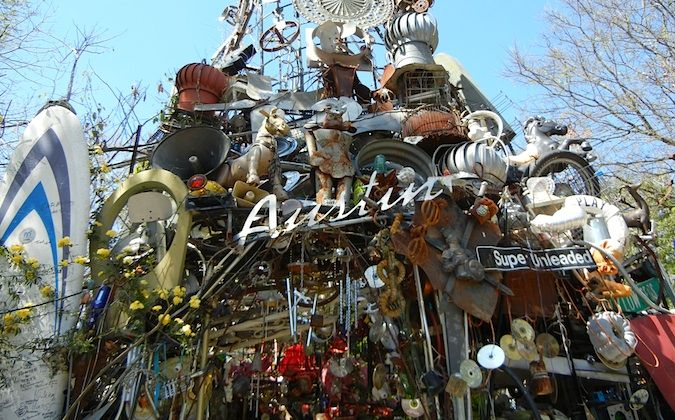 the Cathedral of Junk in Austin, texas main entrance