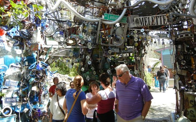 the Cathedral of Junk in Austin, texas with many visitors