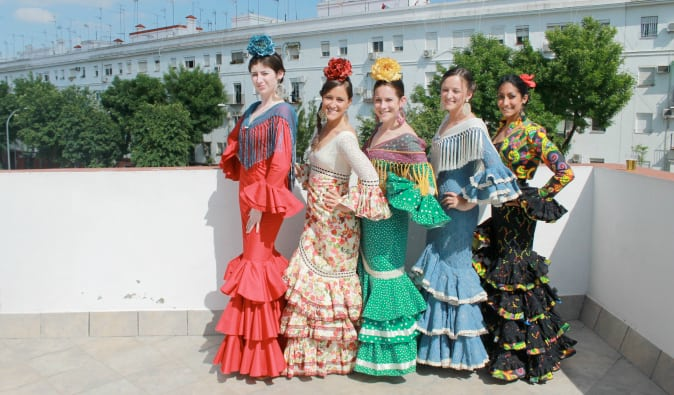 English teacher Cat Gaa and friends in typical dress